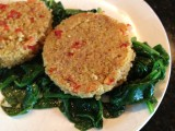 Quinoa Patties over Sauteed Spinach