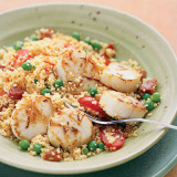 Seared Scallops with Saffron Couscous